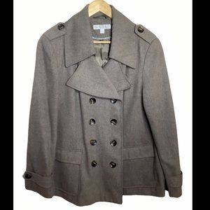 New York & Company XL pea coat tope brown button